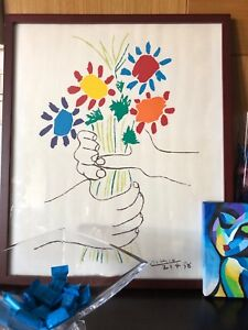 Pablo Picasso Bouquet of Peace Vintage Lithograph Signed Picasso le1 4 58 framed $1200.00