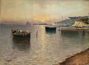 V. CIAPPA ITALIAN 20TH C. SIGNED ORIGINAL OIL PAINTING SEASCAPELISTED ARTIST $745.00