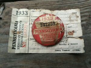 1933 PA Fishing License Pennsylvania Licenses