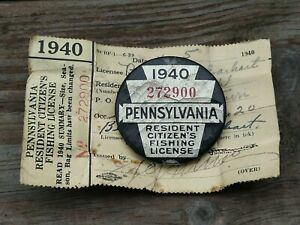1940 PA Fishing License Pennsylvania Licenses