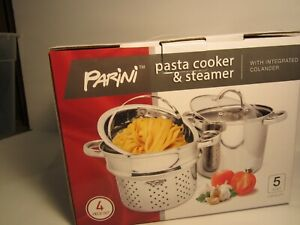 Parini Pasta Cooker and Steamer 4 Piece Set Stainless Steel 5 Quart New. $24.99