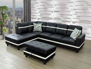 NEW Modern Contemporary Black Sectional w Storage Ottoman amp; 2 Patterned Pillows $899.99