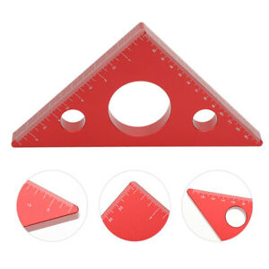 Aluminum Alloy DIY Right Angle Ruler Practical Ruler Durable Red Colour For $33.51