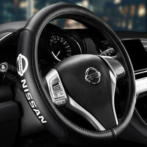 Genuine Leather For NISSAN New Black 15quot; Diameter Car Auto Steering Wheel Cover $32.99
