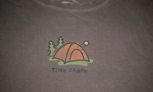 Womens Life is Good Time Share Tent Camping S S Brown Jake Outdoors M