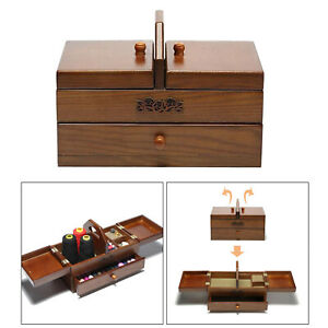Sewing Basket Wooden Box Drawer with Compartments Storage Organizer for Jewelry $143.08