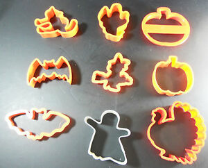 LOT 9 Cookie Cutters Fall Halloween Thanksgiving Orange Plastic Witch Turkey $13.99
