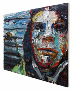 ORIGINAL OIL PAINTING FOLK ART UNIQUE█NYC█PORTRAIT█ABSTRACT NY HEAD pop GALLERY $490.00