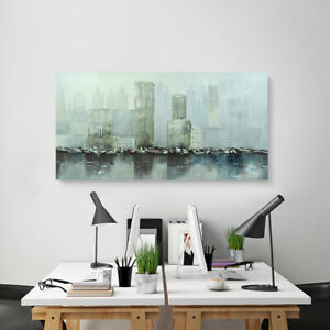 "23.6""X 47.2"" Modern Art Oil Painting Abstract City Viewamp; Water Office Decor $82.79"