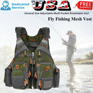 Fly Fishing Mesh Vest General One Size Adjustable Mutil Pocket Breathable Vest $29.88