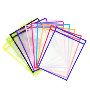 10 Pack Dry Erase Pockets Sleeves Sheet Protector Oversized School Daycare