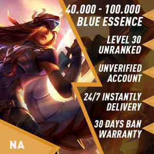 🌪 NA League of Legends LOL Account Smurf 40.000 100.000 BE Unranked Level 30 $5.49