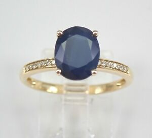 14K Yellow Gold Diamond and Sapphire Engagement Ring Size 7 September Gemstone