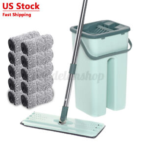 Flat Squeeze Mop and Bucket Set Free Hand Easy Floor Cleaning Microfiber Pad US $27.53