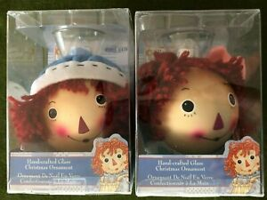 Raggedy Ann amp; Andy Hand crafted Glass Christmas Ornaments New in Box K.S. Adler $22.99