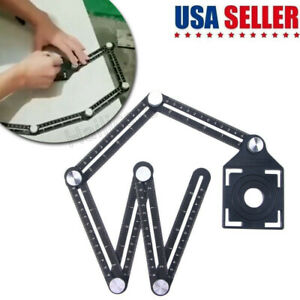 6 Folding Ceramic Tile Hole Locator Adjustable Multi Angle Ruler Measuring Tool $10.44