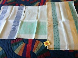3 Vintage Pure Linen Russian Soviet USSR Kitchen Towels 48quot;x13 New Quality Tag $8.95