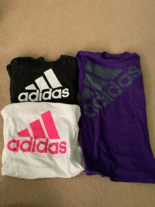 Adidas Shirts lot of 3 White Black and Purple Mediums. Good Condition. $30.00