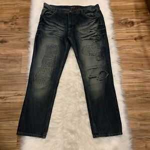 GS 115 Ripped Distressed Destroyed Designer Jeans Denim Men#x27;s Size 42 X 32 EUC