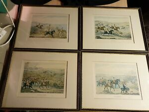 Set of Four Antique Hunting Prints of Engravings by Henry Thomas Alken 1841 A28