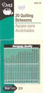 Dritz Quilting Hand Sewing Needles Sizes 3 9 20 Needles In Pack PART#D56B 3 9 $5.25