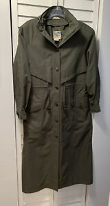 VINTAGE Small  TRAVELSMITH TRENCH RAIN COAT Olive Green Hood Elastic Back