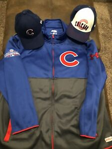 Chicago Cubs Fleece Jacket Mens 2XL XXL Blue Gray Red Stitches Under Armour Hats $39.99