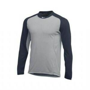 Nike Dri Fit Long Sleeve Baseball Shirt Mens Large Gray Navy AA9782 056 NWT $29.97