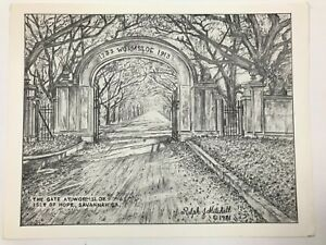 """1981 The Gate At Wormsloe Savannah Etching Signed By Ralph J Mitchell 11""""x8.5"""" $49.99"""
