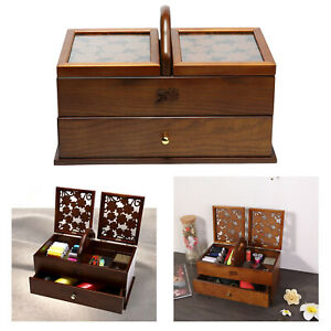 Protable Antique Style Sewing Kit Box Basket Wooden Hand for Home Sewing Repair $177.40