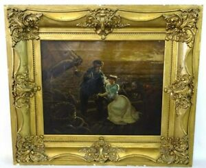 Antique Painting M. Shepard. Oil on Canvas quot;The Partingquot; 26 in X 30 in Frame $657.10