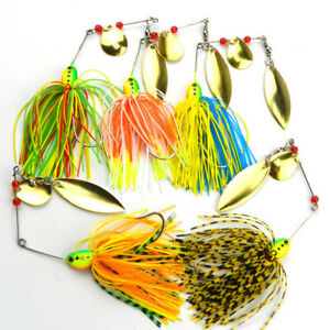 5X Fishing Hard Spinner Lure Spinnerbait Pike Bass Crankbaits Baits Tackle Hook