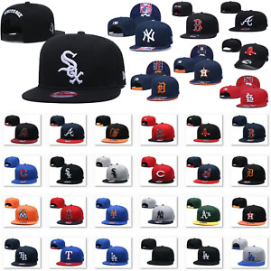 Fashion New Embroidered MLB Baseball Cap Snapback Bill Flat Hats Pick All Teams