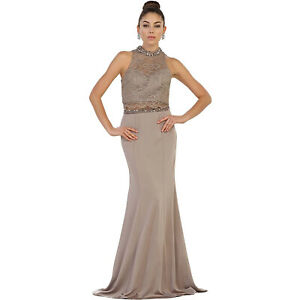 May Queen Stretch Taupe Designer Evening Gown NWT Women#x27;s 10