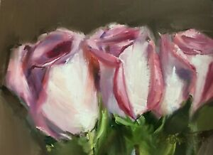 Original Oil Painting 5quot;x7quot; Roses Flowers by Gary Bruton $100.00