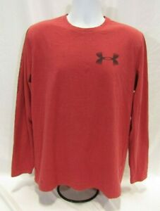 Mens Medium Red Under Armour Loose Fit HeatGear Long Sleeve T Shirt $9.95