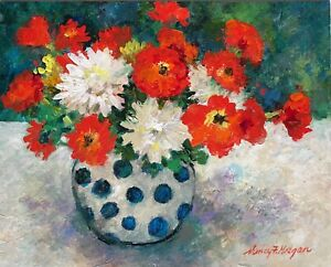 Original Framed Acrylic Floral Painting Direct From Artist Nancy F. Morgan $50.00
