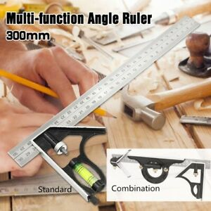12quot; Combination Tri Square Ruler Steel Machinist Measuring Angle Tool Ruler USA $14.90