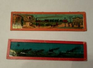 2 Glass Magic Lantern Slides Train amp; Ships