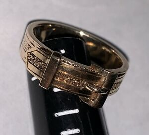 Antique Victorian Mourning Gold amp; Hair Belt Buckle Engraved Band Ring TESTED 14K $850.00