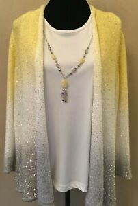 Alfred Dunner Womens Layered Sweater Set Medium Yellow Ombre Attached Necklace $24.99