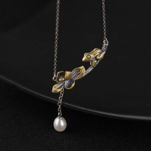 925 Sterling Silver Fashion Frog Lotus Pearl Pendant Necklace Chain Jewelry Gift