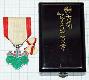 Antique Military Medal 7th Class Blue Paulownia With Box Badge Pin JAPAN $99.00