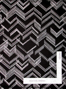 Silver Line Angle Black Cotton Fabric Benartex CM5029 Simply Sterling 29quot; Length $9.06