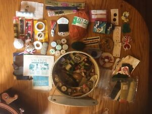 Vintage sewing basket and contents $28.00