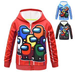 AmongUs Kids Boys Hoodie Zip Jacket Sweatshirt Sweater Shirt Cosplay Costume $20.56