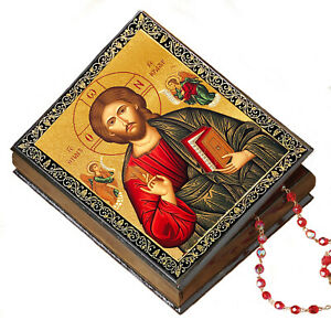 Christ Pantocrator the Ruler of All Icon Box Keepsake Rosary Prayer Beads Wooden $24.99