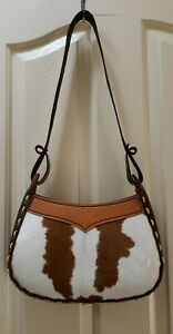 Handmade Brown Leather Cowhide Cow Stitch Purse Handbag