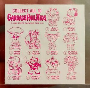 1986 Garbage Pail Kids Cheap Toy Checklist ONLY NO TOY BAG INSERT PER PACK