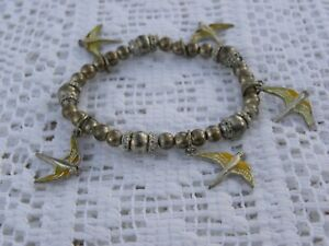 Gold Tone Enamel Bird Stretch Bracelet Beads Charms